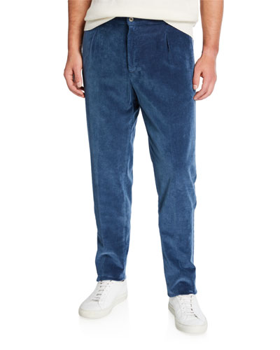 Men's Pleated Corduroy Trousers with Elastic Waist  Blue