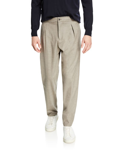 Men's Pleated Stretch-Cashmere Trousers  Gray