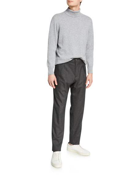 Men's Pleated Stretch-Cashmere Trousers, Gray