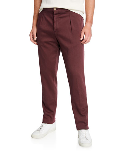 Men's Solid Twill Pleated-Front Pants