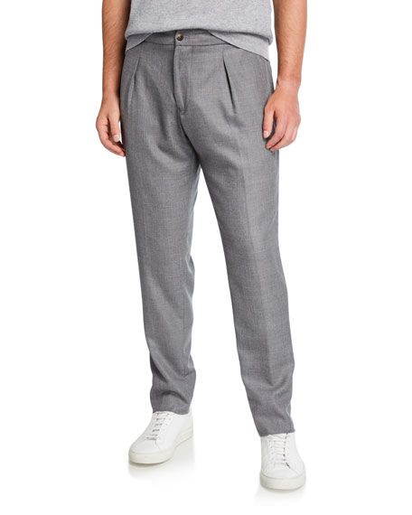 Image 1 of 1: Men's Pleated Cashmere-Wool Trousers