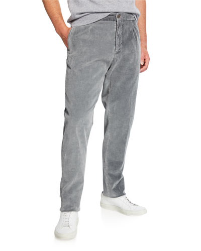 Men's Pleated Corduroy Trousers with Elastic Waist  Gray