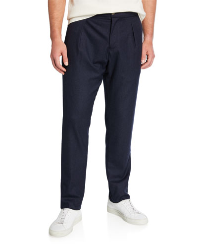 Men's Pleated Stretch-Cashmere Trousers  Blue