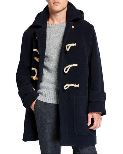 Men's Wool-Blend Hooded Duffle Coat