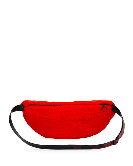 Men's Medium Lamb-Shearling Belt Bag/Fanny Pack, Red