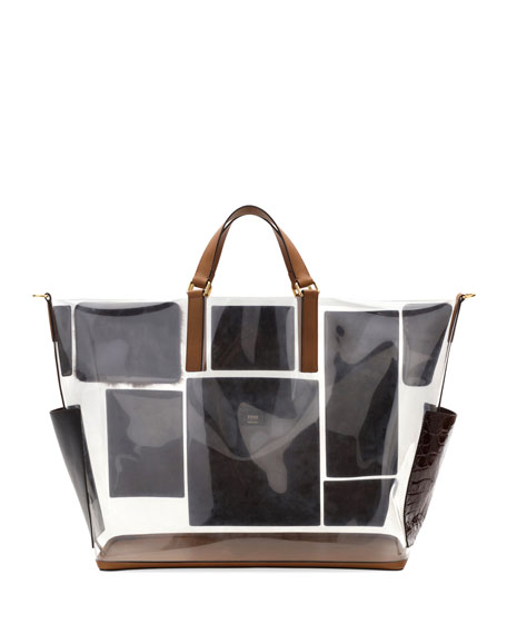 Men's Transparent Mixed Leather & Fur Tote Bag