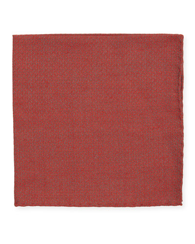 Jacquard Woven Pocket Square  Red