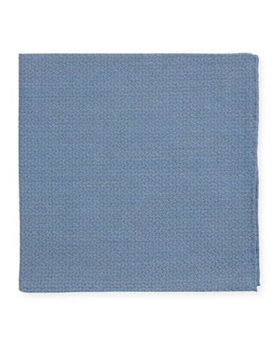 Men's Solid Jacquard Cashmere-Blend Pocket Square