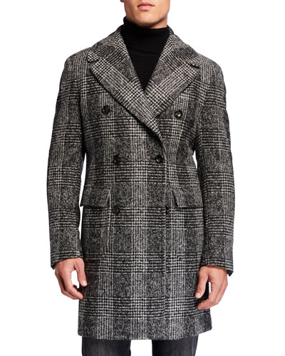 Men's Plaid Wool Pea Coat