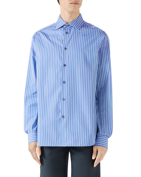 Men's Classic Large Stripe Long-Sleeve Sport Shirt