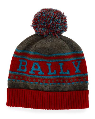 Men's Wool Logo Beanie Hat w/ Pompom