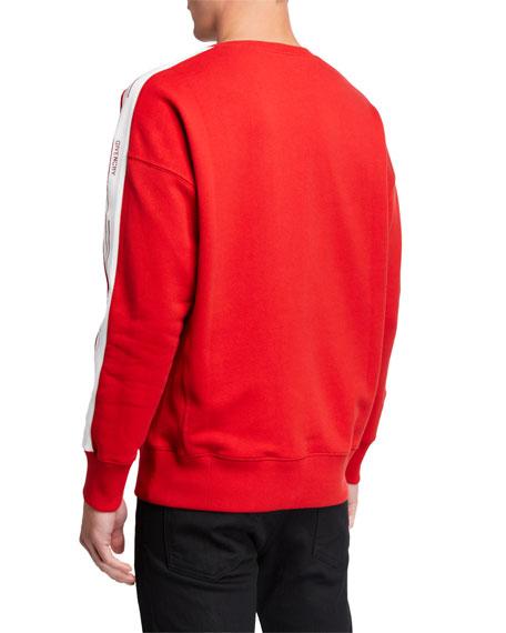Men's Crewneck Sweatshirt with Logo Taping