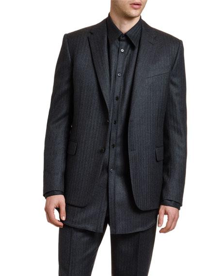 Men's Stripes Layered-Hem Two-Button Jacket