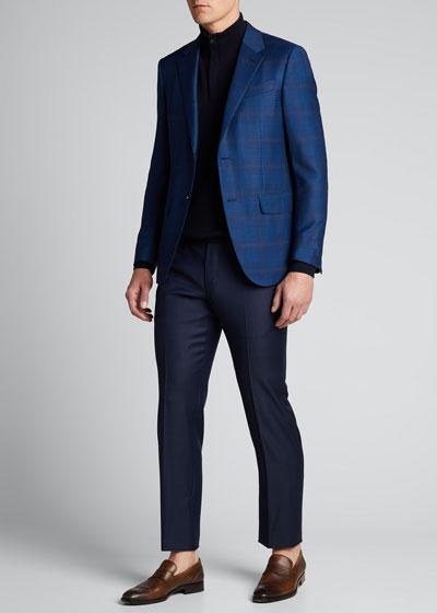 Men's Micro-Pattern Straight-Leg Wool Pants