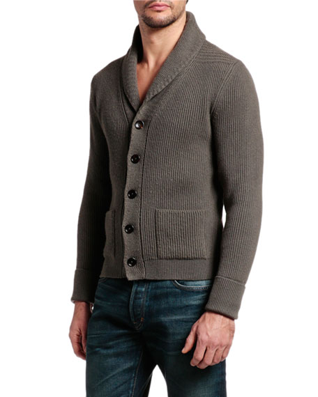 Men's Cashmere Shawl Collar Cardigan Sweater