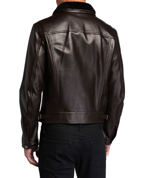 Men's Shearling-Trim Leather Jacket
