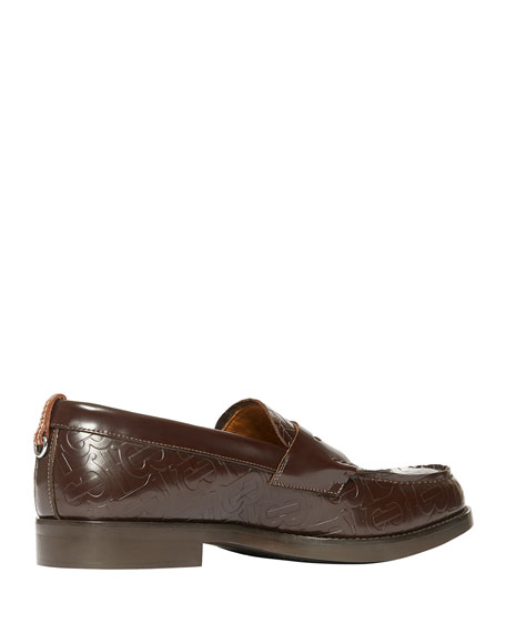 Men's Emile TB-Embossed Leather Penny Loafers