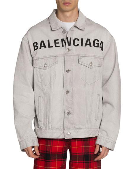Men's Bleached Denim Jacket with Logo