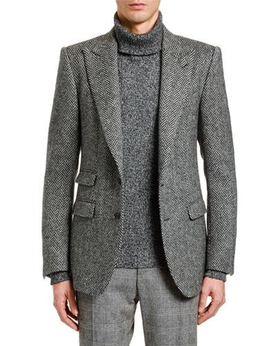 Men's Herringbone Wool Two-Button Jacket