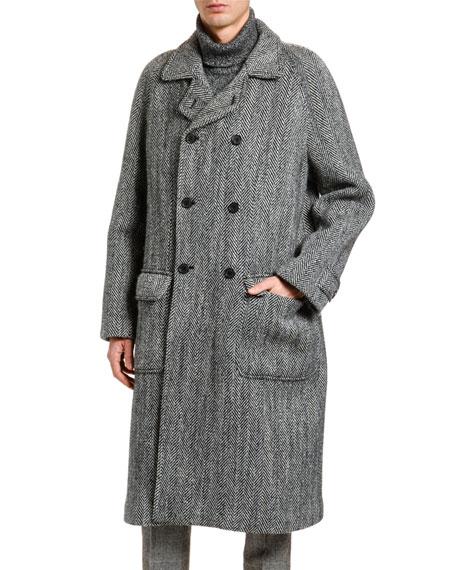 Men's Herringbone Oversized Wool Coat