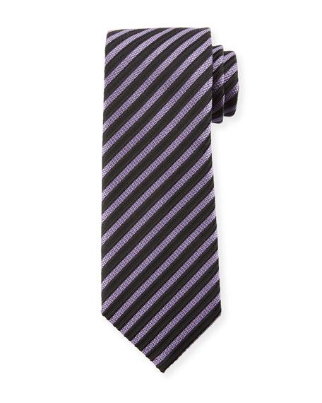 Striped Silk 8cm Tie, Purple