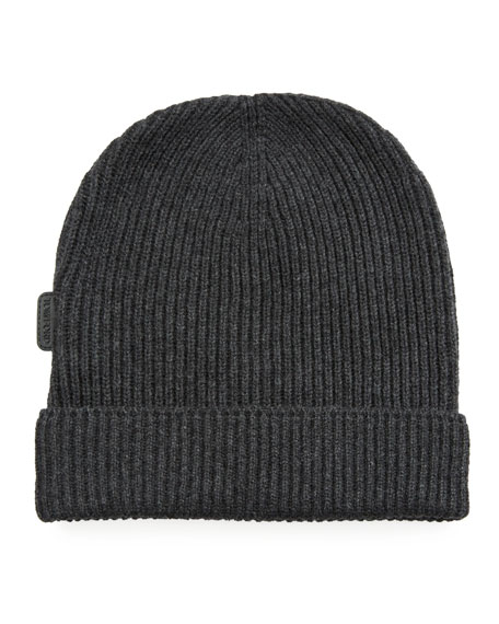 Image 1 of 1: Men's 8GG Cashmere Rib-Knit Beanie Hat, Gray