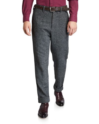 Men's Andover Check Pleated Pants  Gray