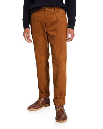 Men's Andover Corduroy Pleated Pants  Beige