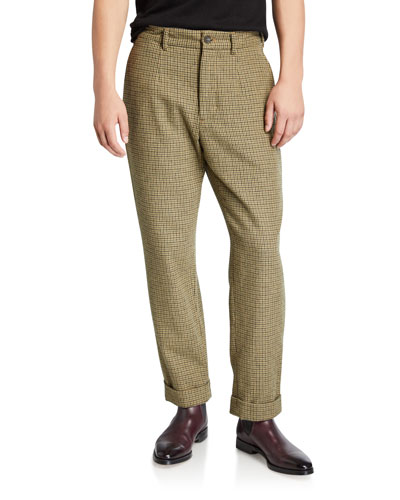 Men's Andover Check Pleated Pants  Green/Brown