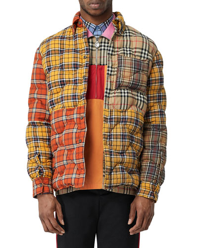 Men's Mixed Plaid Quilted Shirt Jacket