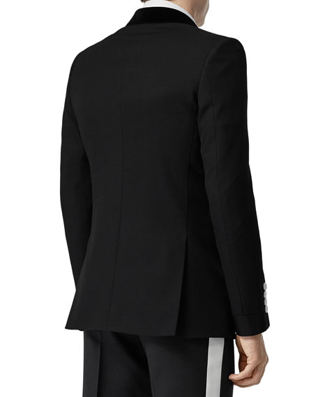 Men's Wool Tuxedo Jacket with Contrast Buttons