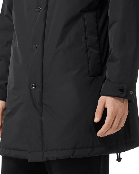 Men's Nylon Long Hooded Varsity Jacket