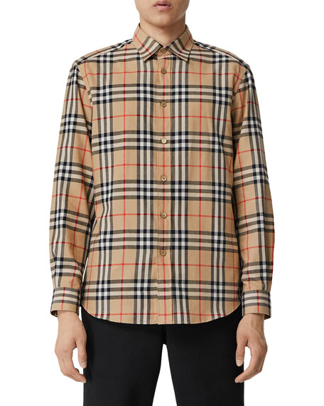 Men's Chambers Check Flannel Sport Shirt, Beige
