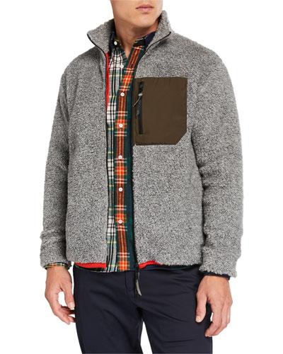 Men's Wool-Blend Jacket with Nylon Chest Pocket