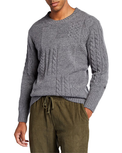 Men's Patchwork Cable-Knit Crewneck Sweater