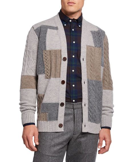 Image 1 of 1: Men's x B Shop Patchwork Cable Cardigan