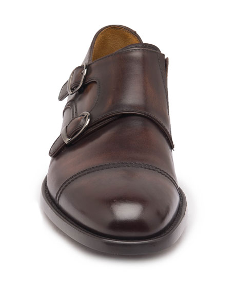Men's Barone Burnished Leather Double-Monk Loafers