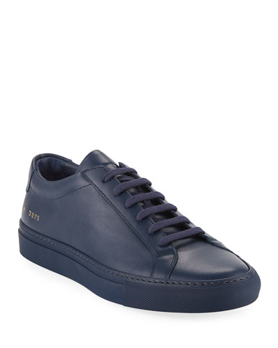 Men's Achilles Leather Low-Top Sneakers  Navy