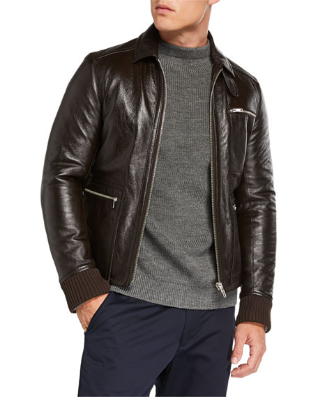 Image 1 of 1: Men's Napa Leather Zip-Front Jacket