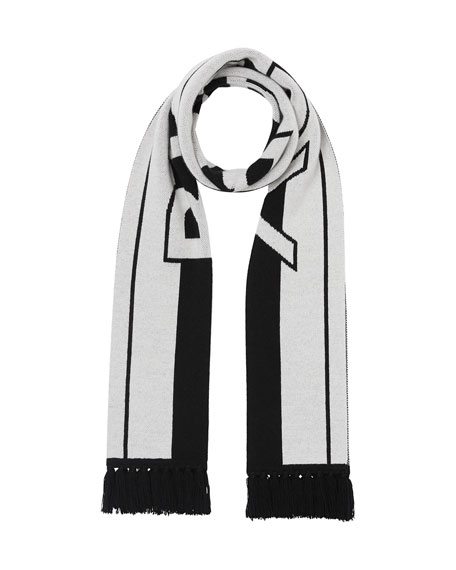 Image 1 of 1: Men's Two-Tone Striped Logo Scarf