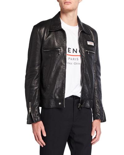 Men's Lamb Leather Blouson Jacket w/ Chest Label