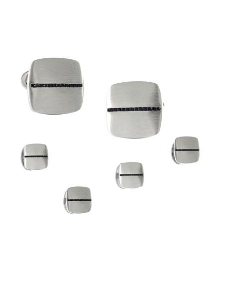 Men's Soft Square Cufflink & Stud Set w/ Black Diamonds
