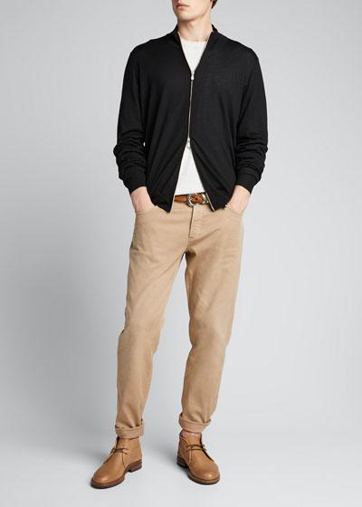 Men's Zip-Front Cashmere-Blend Cardigan