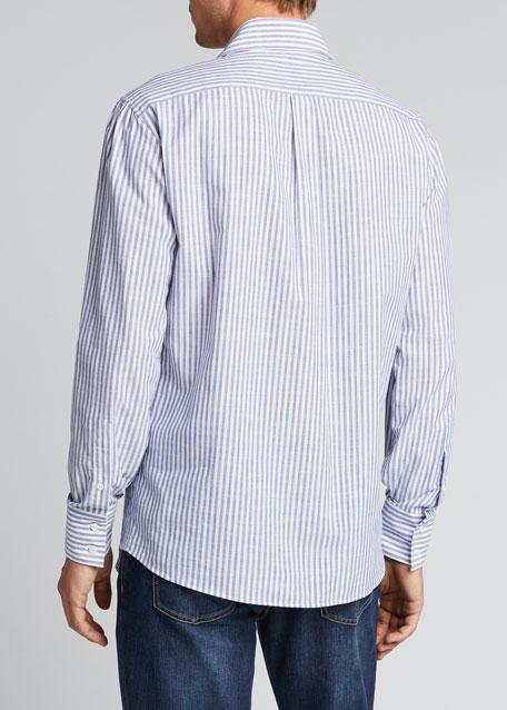 Men's Chambray Striped Sport Shirt