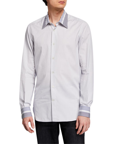 Men's Striped Point-Collar Sport Shirt