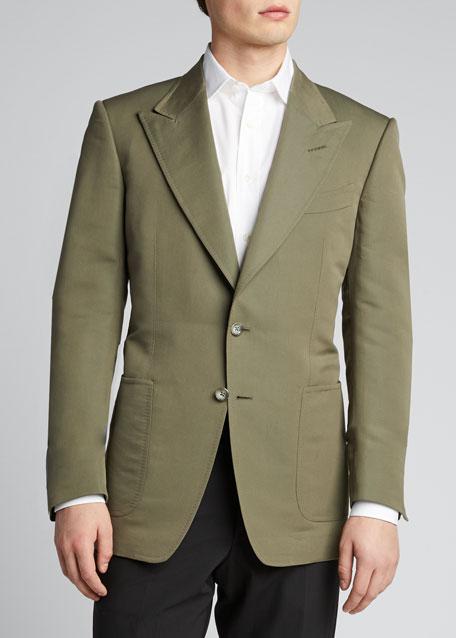 Men's Peak-Lapel Poplin Shelton Dinner Jacket