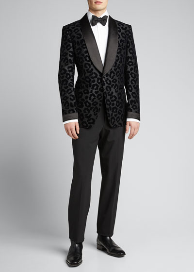 Men's Peak-Lapel Leopard-Flock Shelton Dinner Jacket