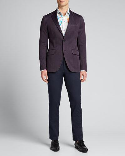 Men's Chevron Two-Button Knit Blazer