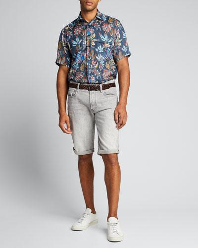 Men's Floral Linen Hawaiian Shirt
