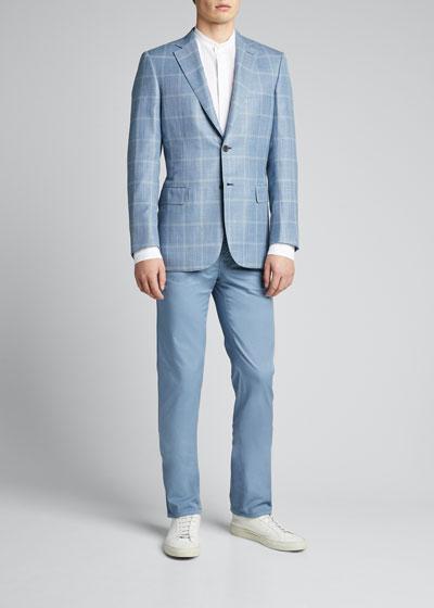Men's Textured Mandarin-Collar Sport Shirt